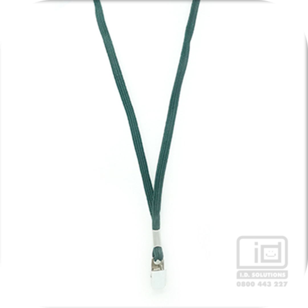 Forest Green Tube Lan with Bulldog Clip - 8mm wide image 0