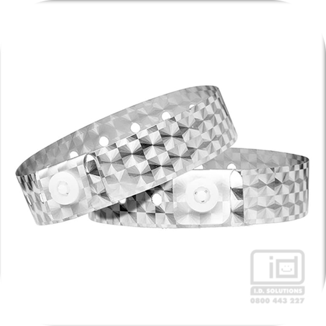 Holographic Silver L shaped wristbands image 0