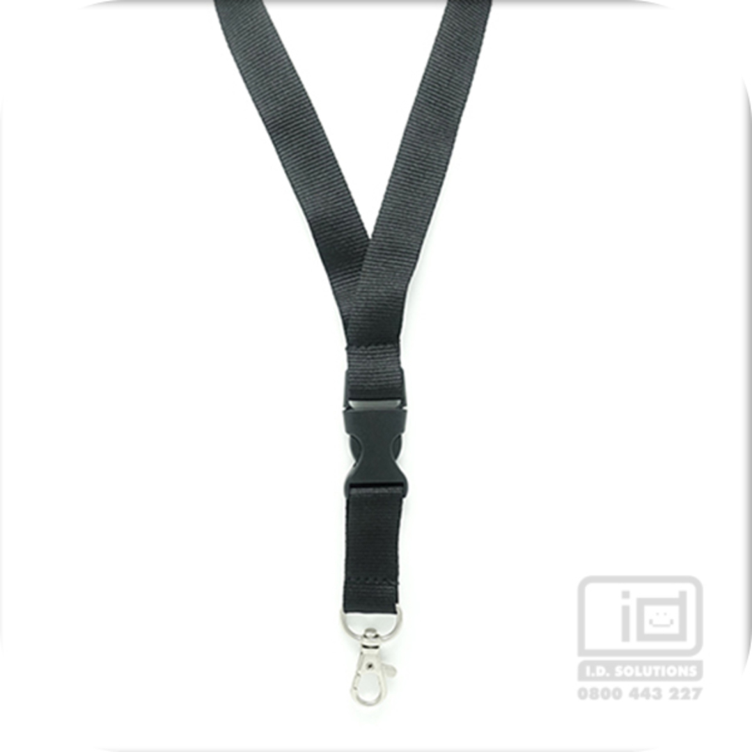 Black Flat Lan with Quick Release Buckle C-Hook - 20mm wide image 0