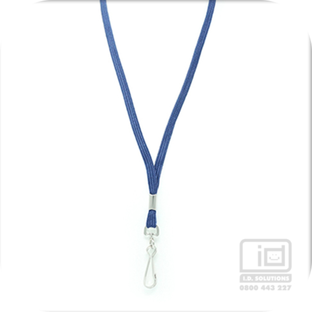 Navy Blue Tube Lan with Swivel Hook - 8mm wide image 0