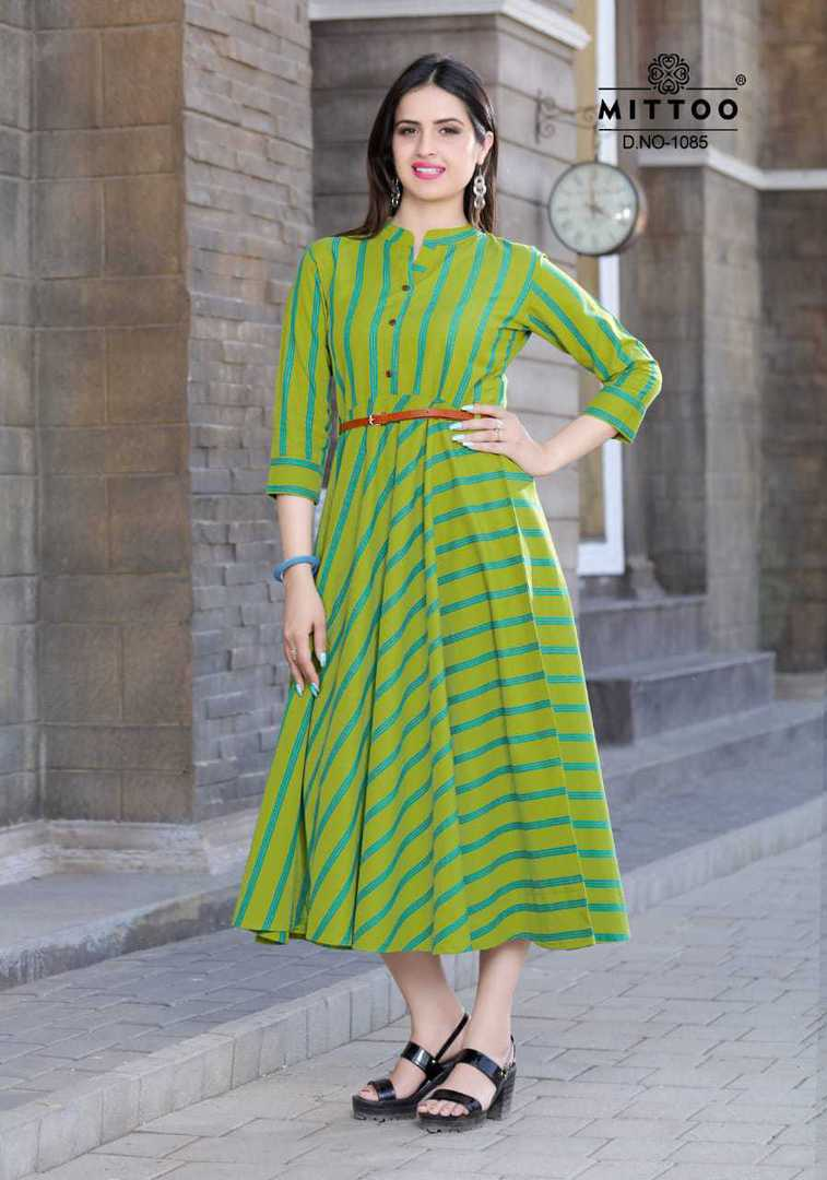 Rayon Print and Cotton Full Flair Midi/Kurti image 4
