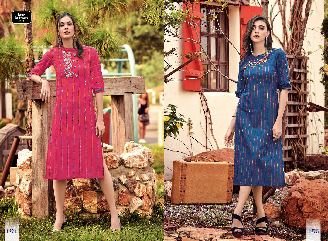 Pure Cotton Weaving Stripes Kurti image 2