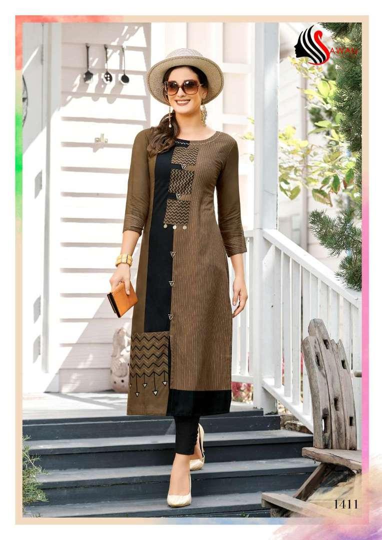 Rayon Print Long Formal Wear Kurti image 11