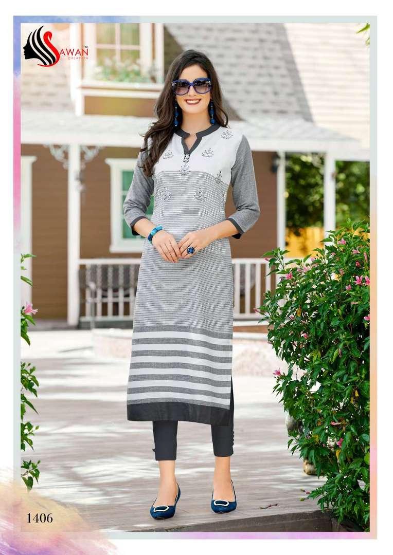 Rayon Print Long Formal Wear Kurti image 6
