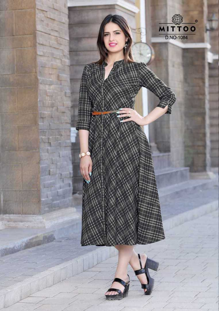 Rayon Print and Cotton Full Flair Midi/Kurti image 3