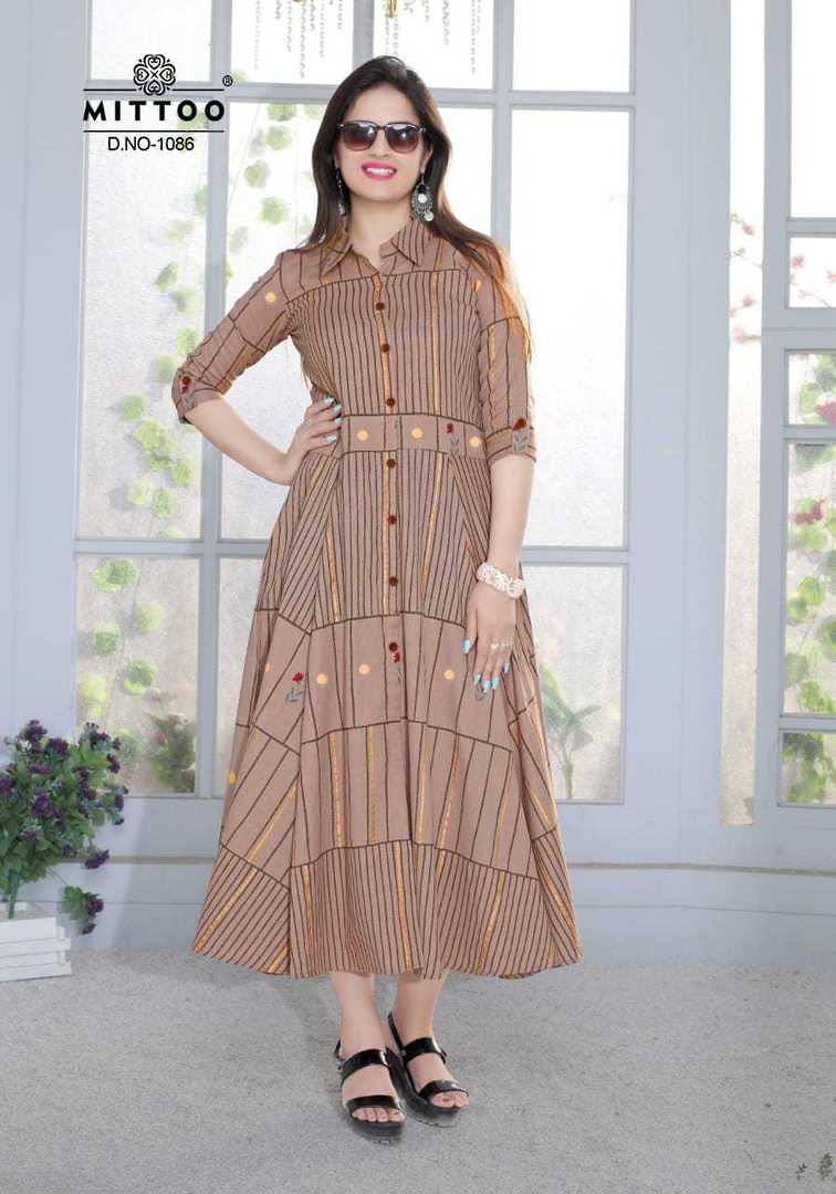 Rayon Print and Cotton Full Flair Midi/Kurti image 5