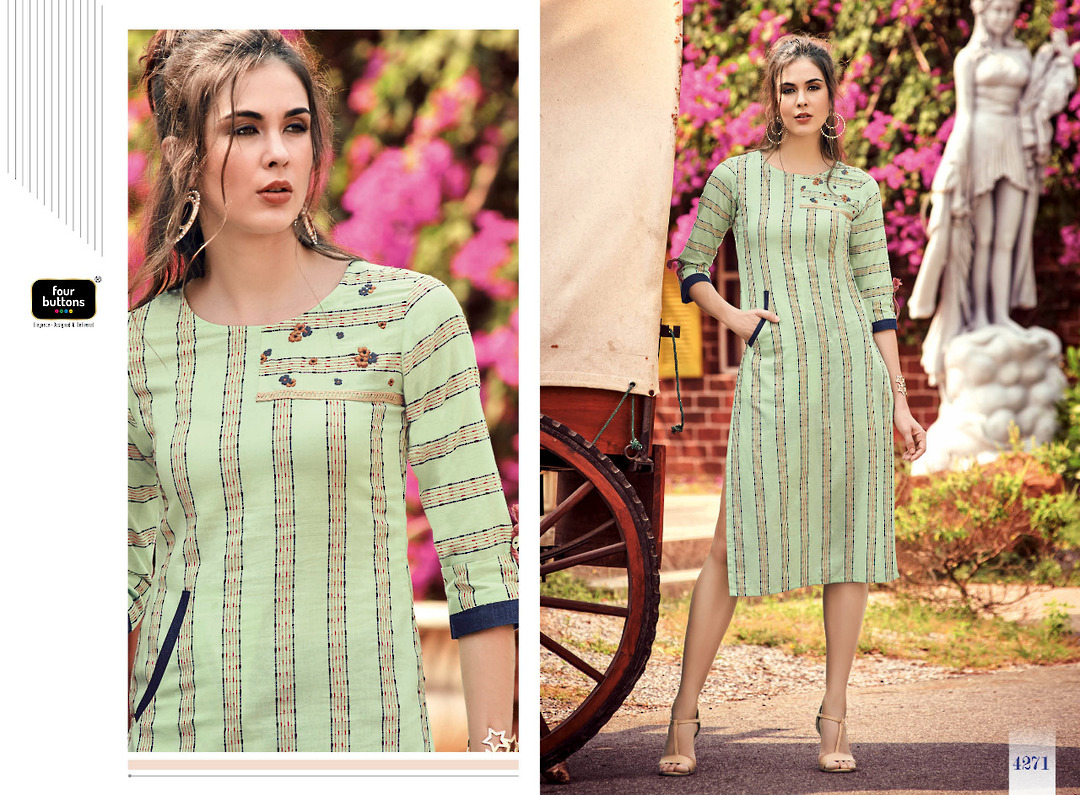 Pure Cotton Weaving Stripes Kurti image 0