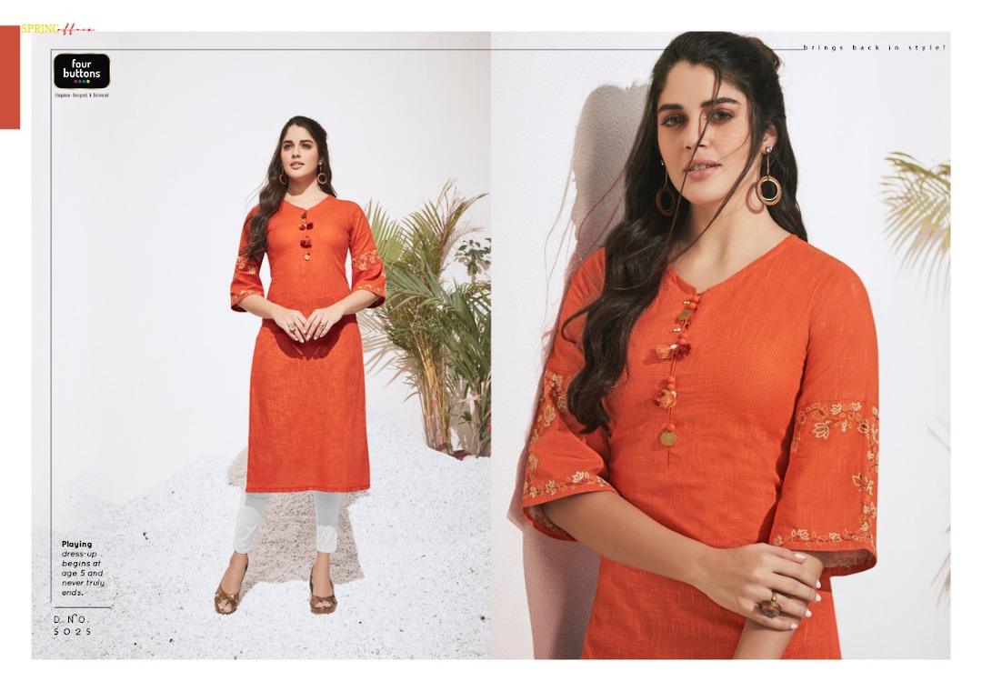 Pure Heavy Cotton and Embroidery Kurti image 3