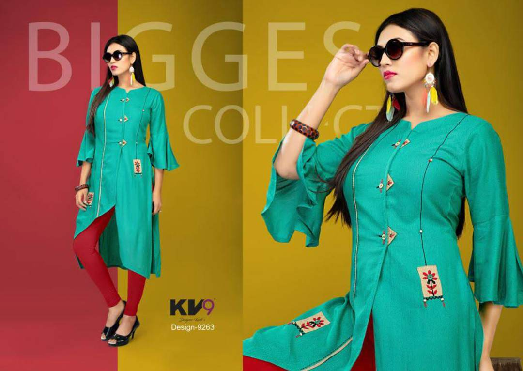Ladies Flared 3/4 Sleeve Solid Rayon Kurti image 1