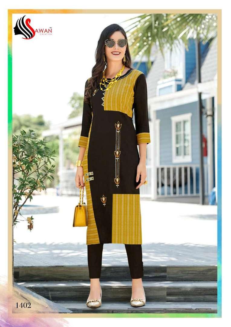 Rayon Print Long Formal Wear Kurti image 2