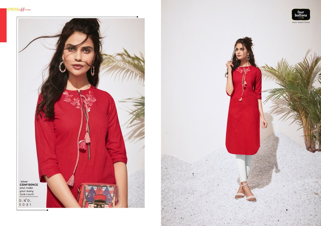 Pure Heavy Cotton and Embroidery Kurti image 0