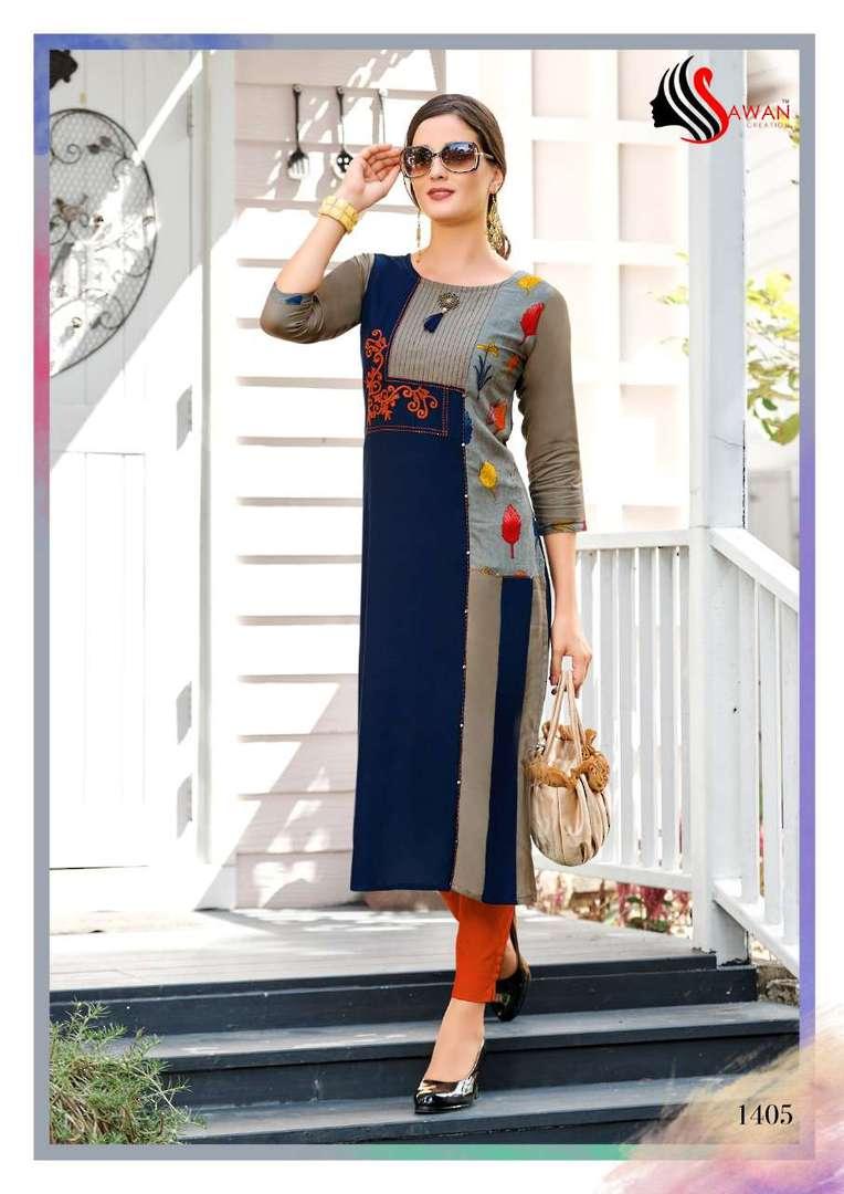 Rayon Print Long Formal Wear Kurti image 5