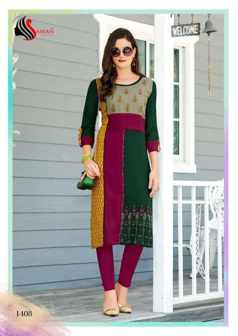 Rayon Print Long Formal Wear Kurti image 8