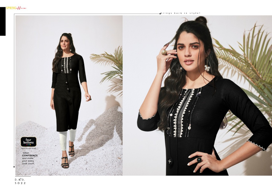 Pure Heavy Cotton and Embroidery Kurti image 1