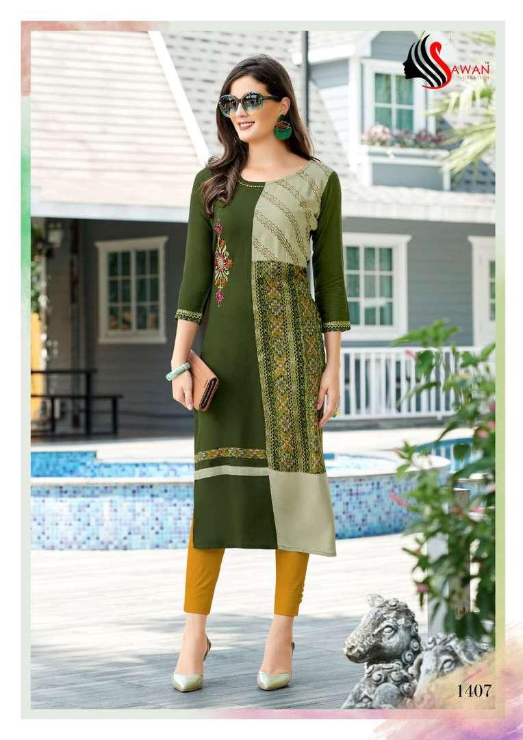 Rayon Print Long Formal Wear Kurti image 7