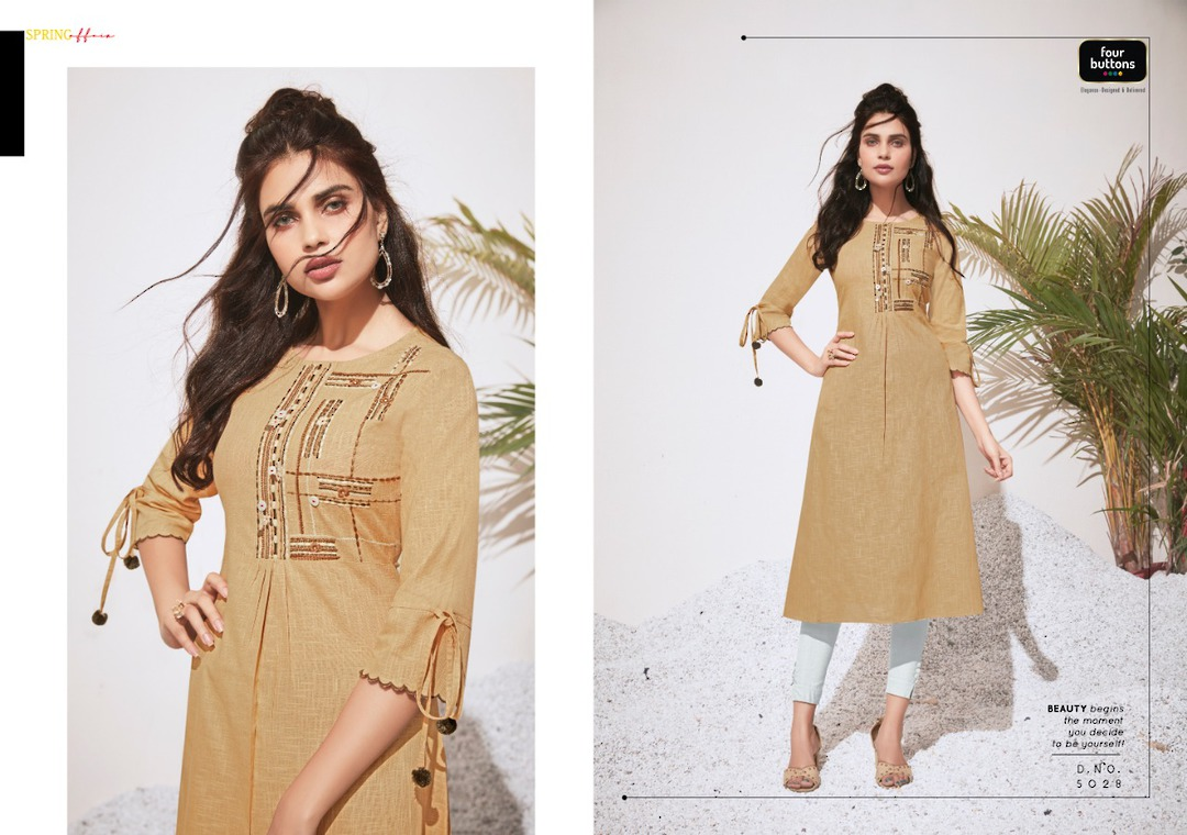 Pure Heavy Cotton and Embroidery Kurti image 4