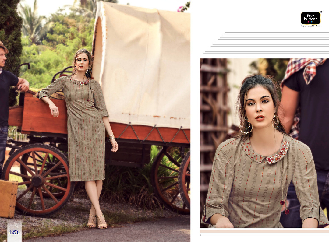 Pure Cotton Weaving Stripes Kurti image 3