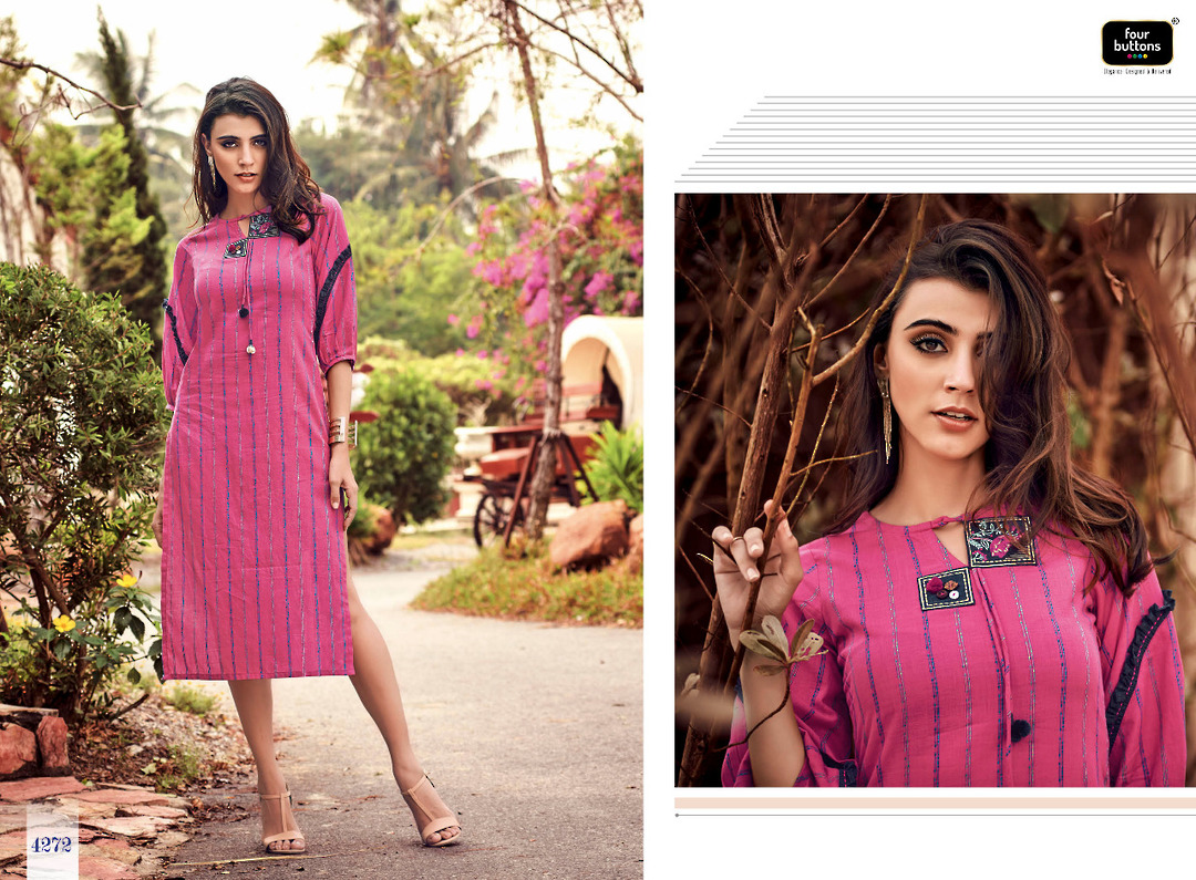Pure Cotton Weaving Stripes Kurti image 1