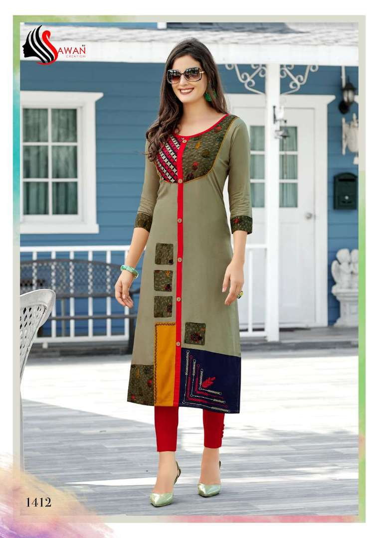 Rayon Print Long Formal Wear Kurti image 12