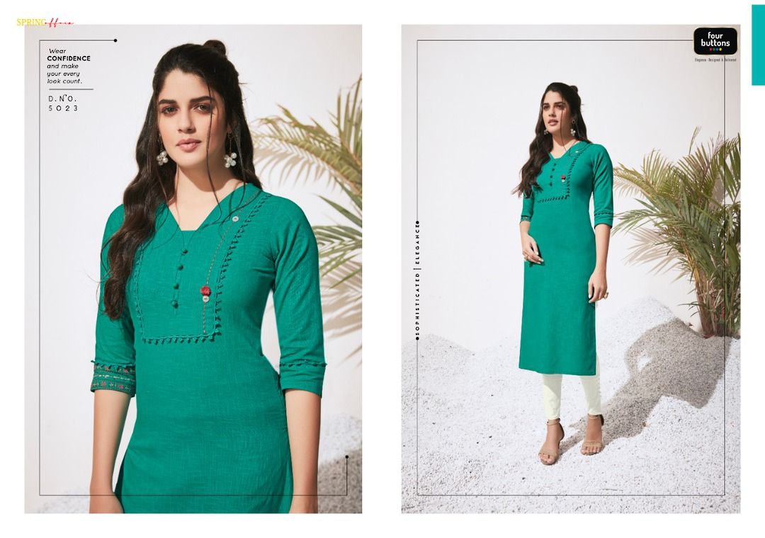Pure Heavy Cotton and Embroidery Kurti image 2