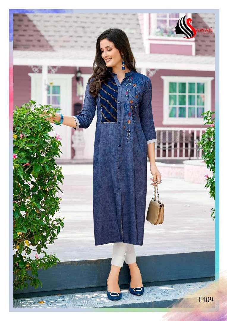 Rayon Print Long Formal Wear Kurti image 9