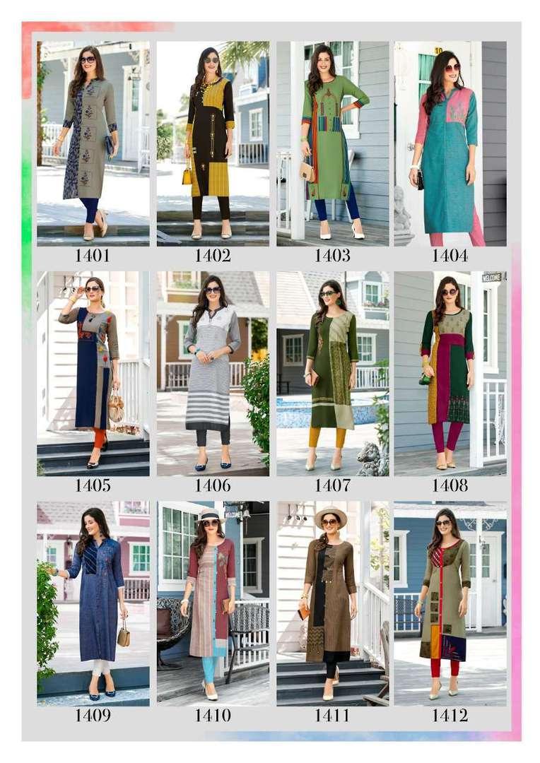 Rayon Print Long Formal Wear Kurti image 0