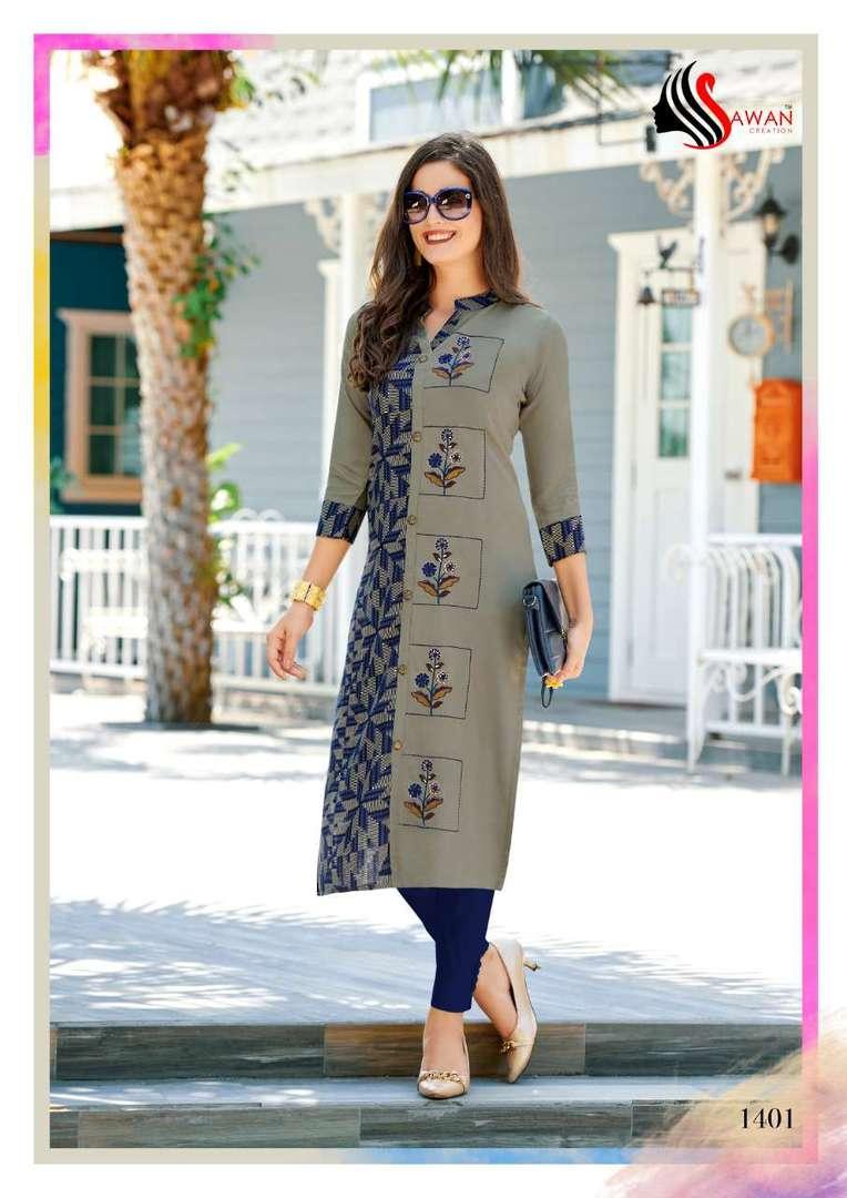 Rayon Print Long Formal Wear Kurti image 1