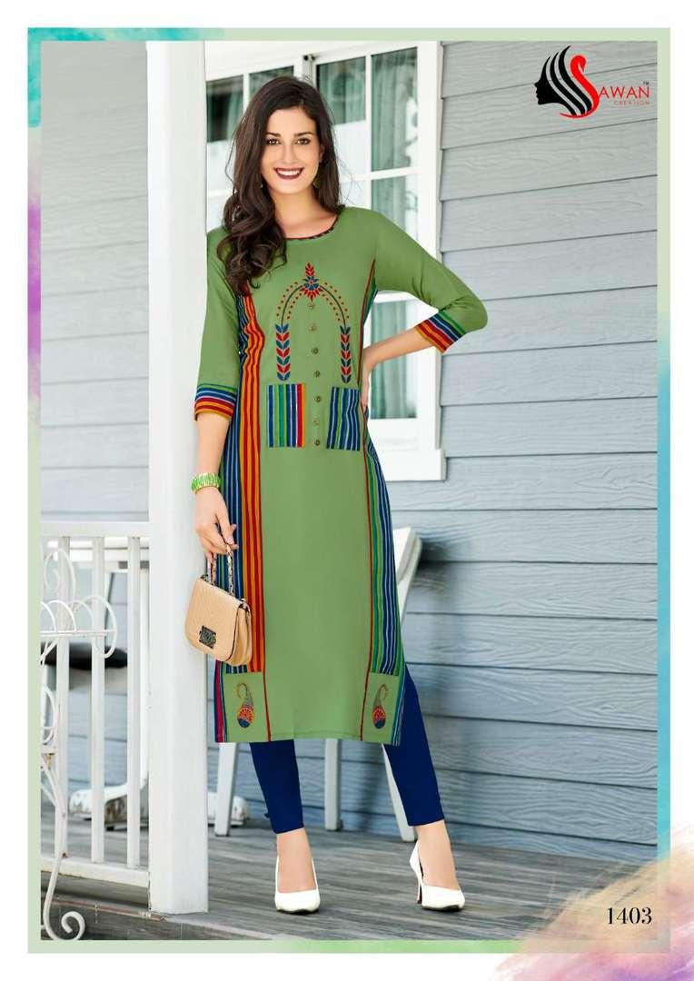 Rayon Print Long Formal Wear Kurti image 3