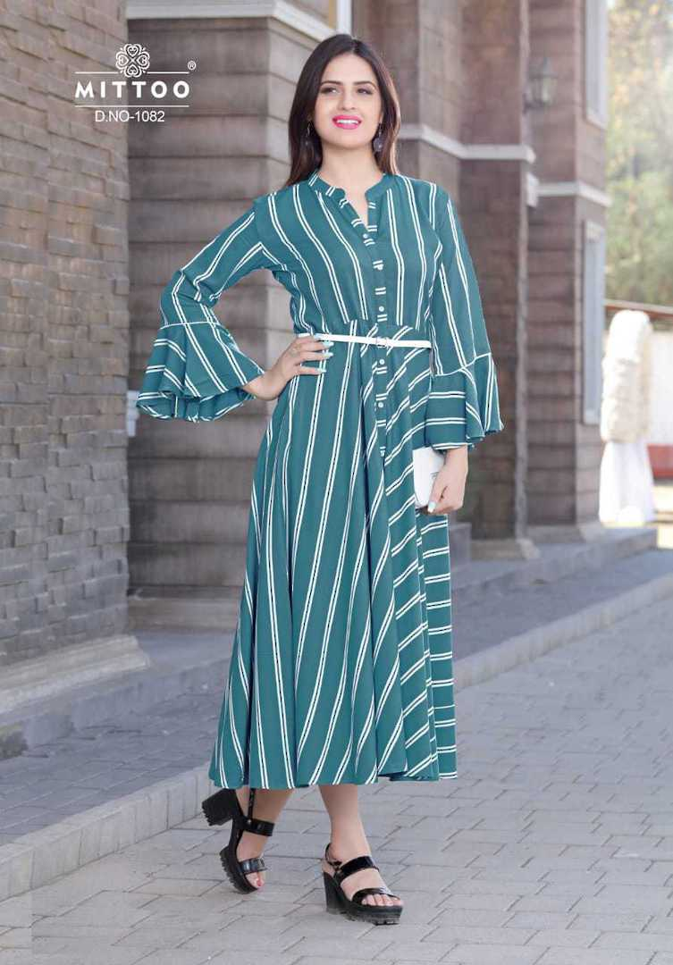 Rayon Print and Cotton Full Flair Midi/Kurti image 1