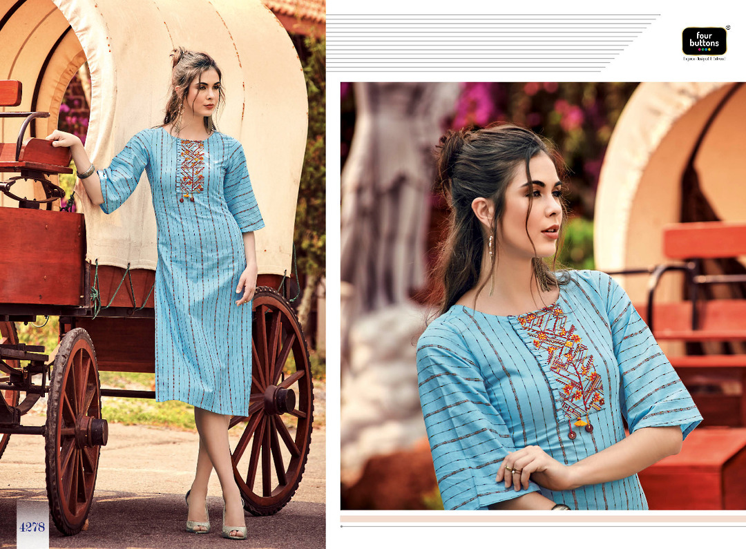 Pure Cotton Weaving Stripes Kurti image 5