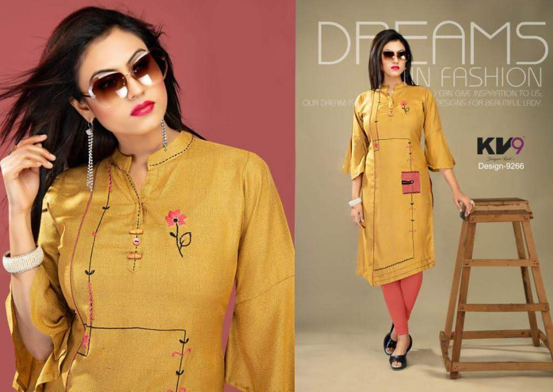 Ladies Flared 3/4 Sleeve Solid Rayon Kurti image 2