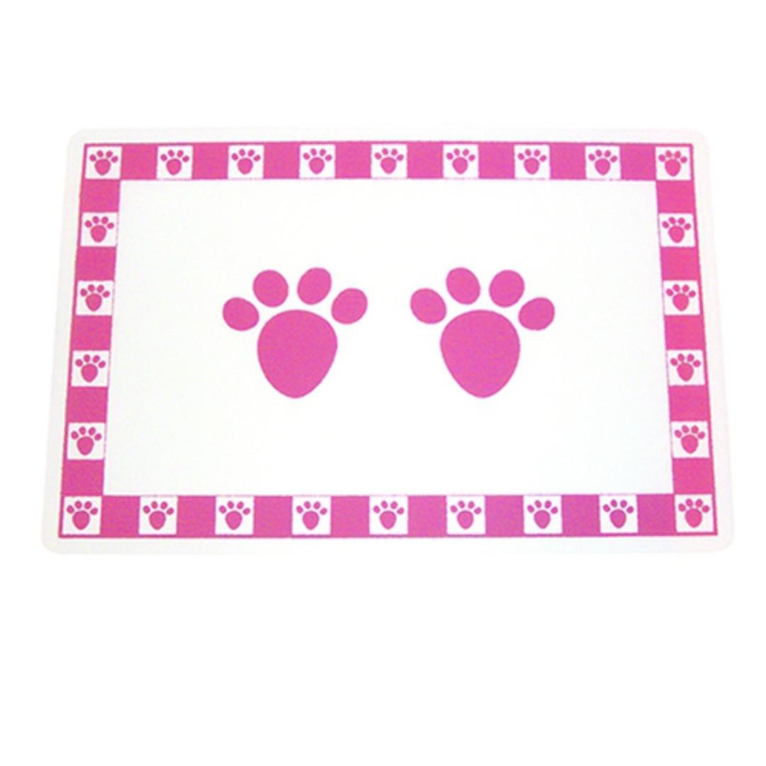 Feed Mats Pet Paws Placemat Pink image 0