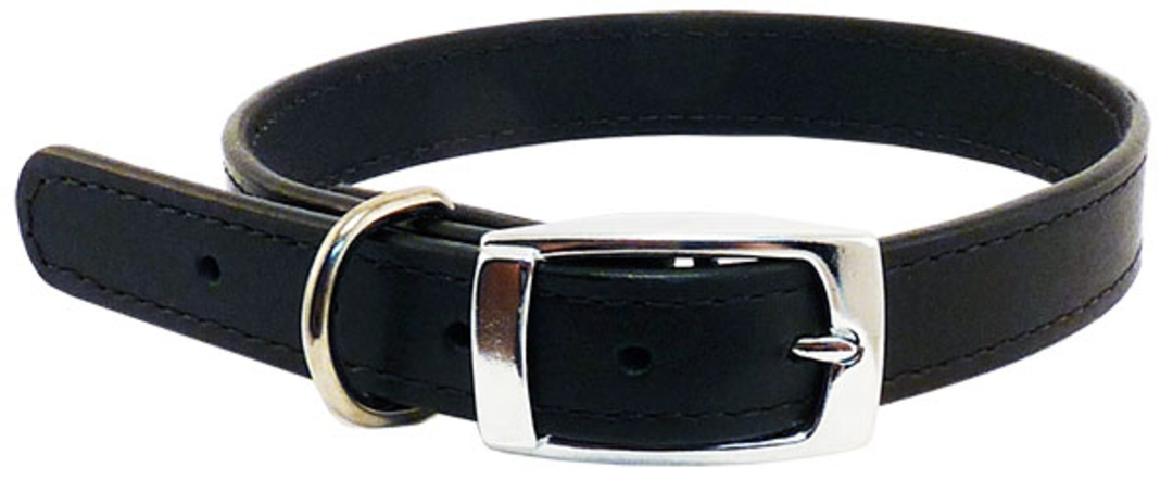 Leather Stitched Collar Black (32mm x 65cm) image 0