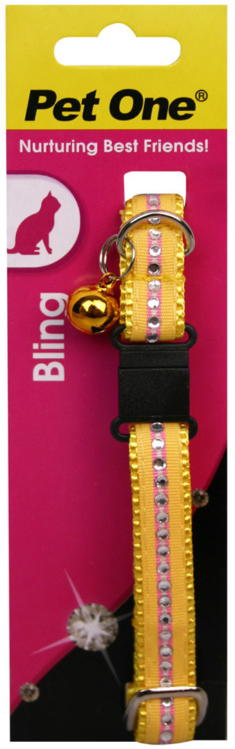 Pet One Collar for Cat & Kitten Bling with BREAKAWAY Clip 12mm x 30cm Yellow image 0