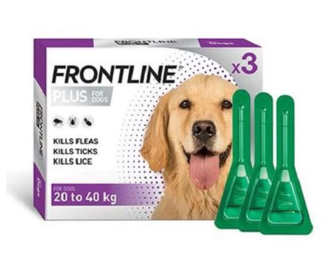 Frontline Plus Spot-on Flea Treatment for Large Dogs 20-40kg (Purple / 2.68ml x 3) image 0
