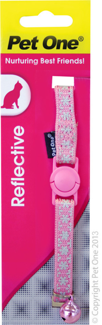 Pet One Collar for Cat & Kitten Reflective and Adjustable 10mm x 15-22.5cm Pink image 0