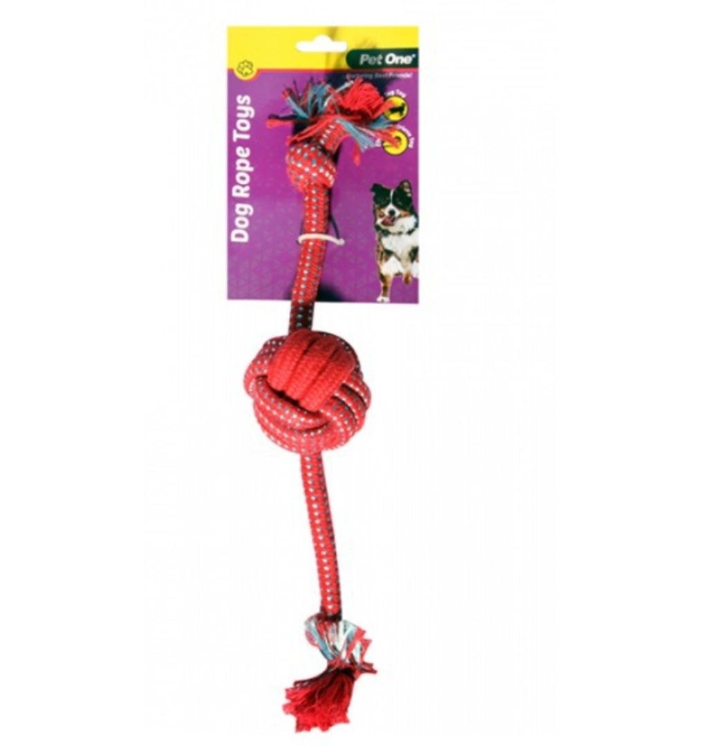 Dog Toy with 1 Rope Ball Red/Blue 38cm image 0