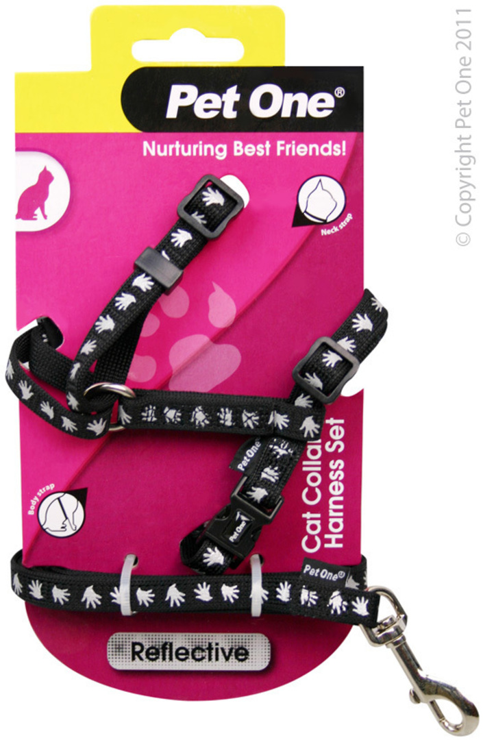 Pet One Harness & Lead Set for Cat & Kitten Reflective and Adjustable 10mm x 15-22.5cm Black image 0