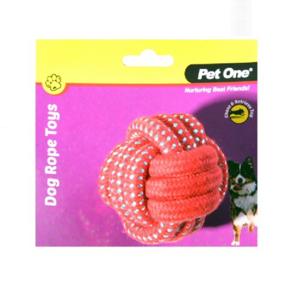 Dog Toy Rope Ball Red/Blue 8cm Diameter image 0