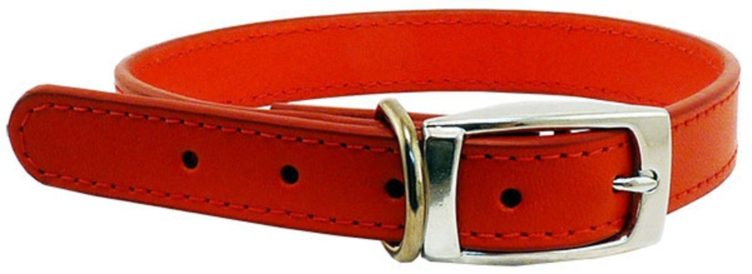 Leather Stitched Collar Red (25mm x 55cm) image 0