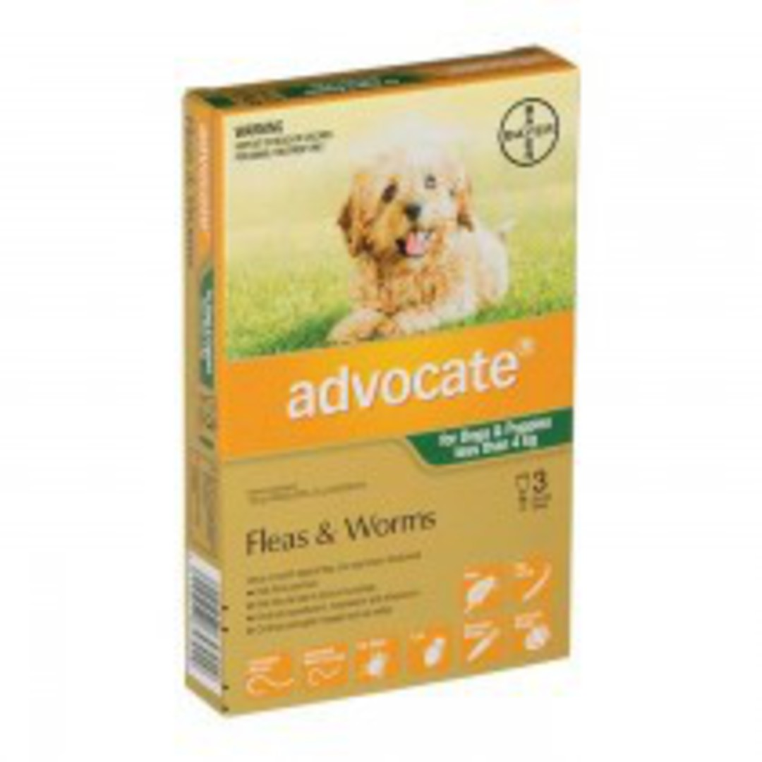 Advocate Spot-on Flea and Worm Treatment for Small Dogs and Puppies up to 4kg (Green / 3 pippets) image 0