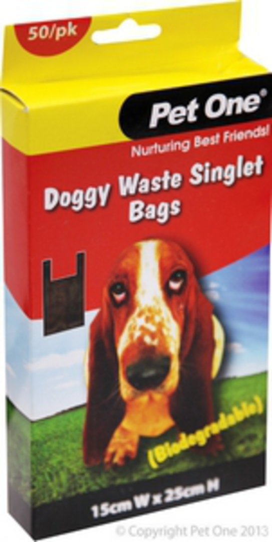 Pet One Doggy Waste Singlet Bags 50bags (Biodegradable) image 0