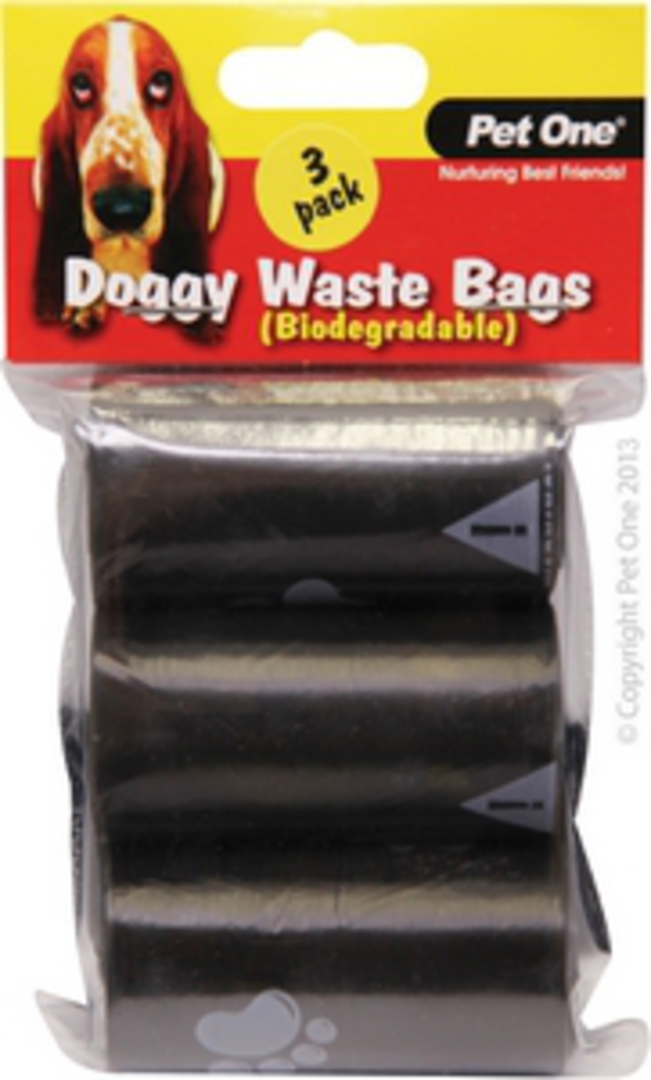 Pet One Doggy Waste Bags 3pack x 20pcs/Roll (Biodegradable) image 0