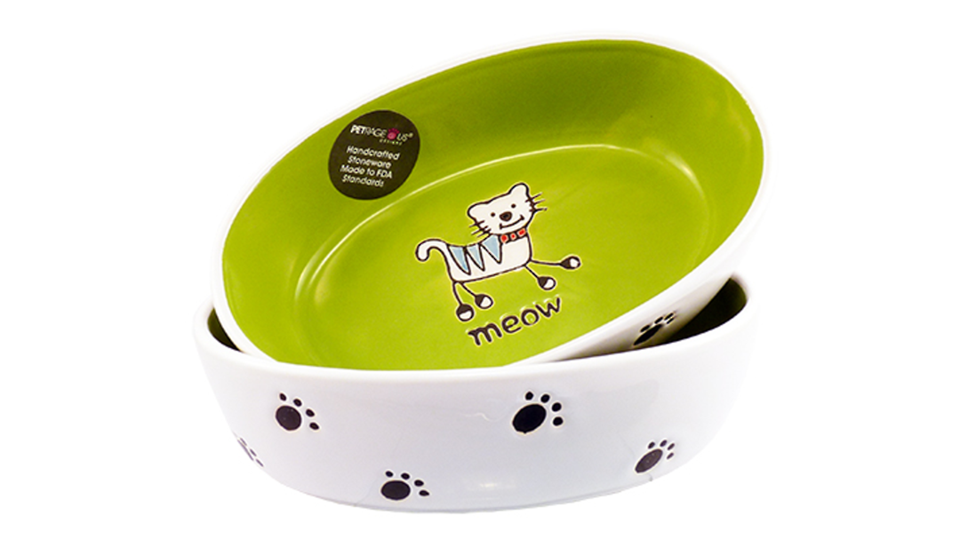 Silly Kitty Bowl Oval - Lime Green 17cm image 0