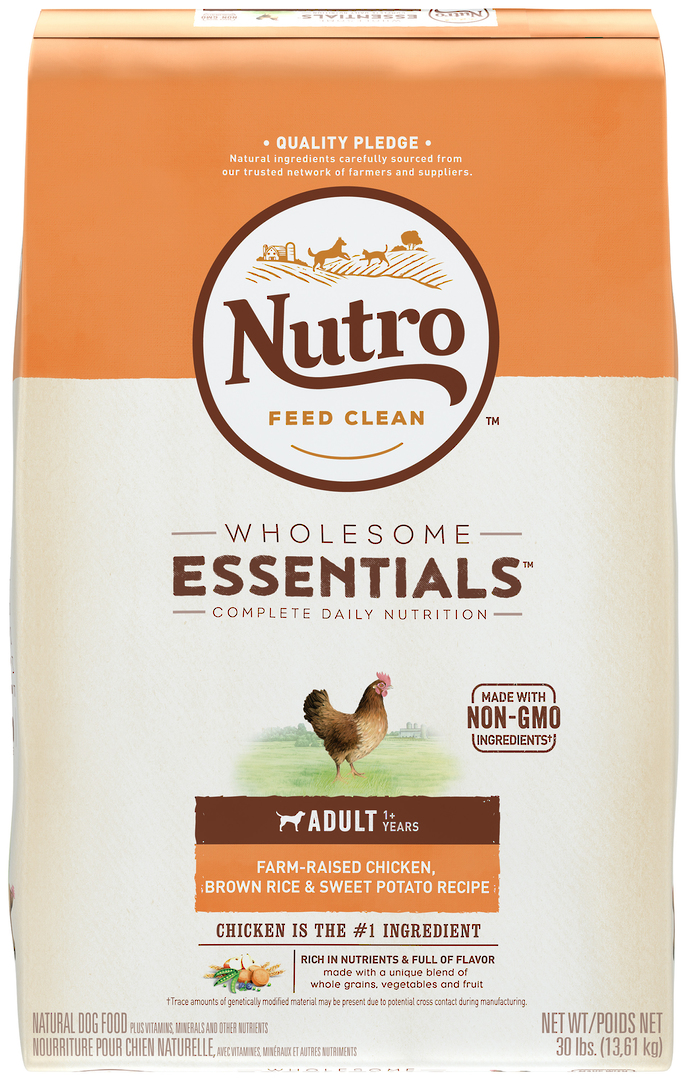 Nutro Wholesome Essential Adult Dog - Chicken, Whole Brown Rice & Sweet Potato Recipe - 13.61kg image 1