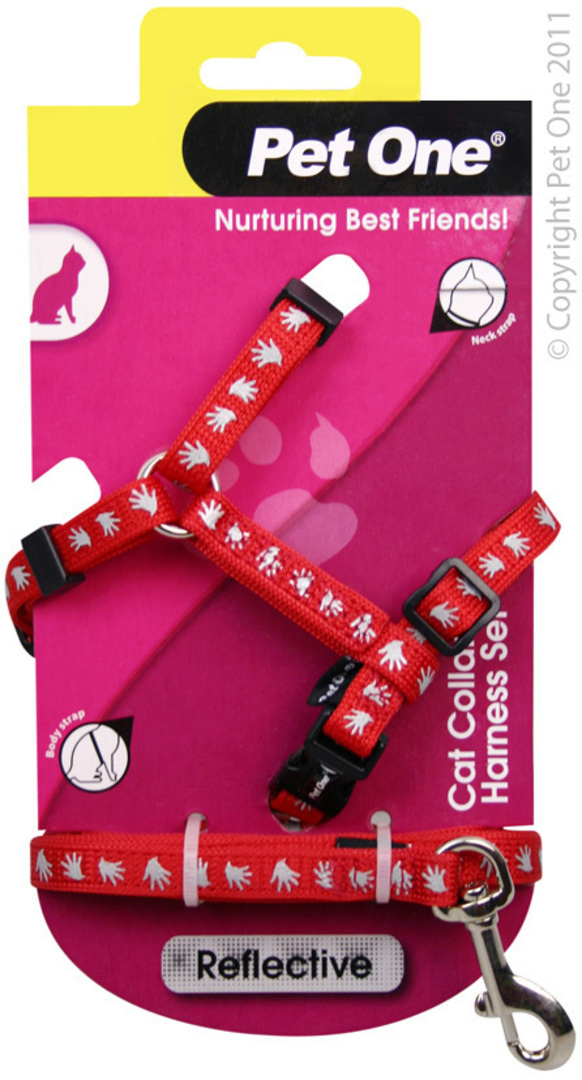 Pet One Harness & Lead Set for Cat & Kitten Reflective and Adjustable 10mm x 15-22.5cm Red image 0