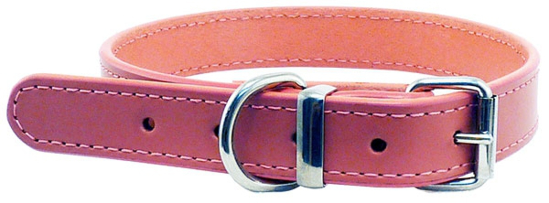 Leather Stitched Collar Pink (25mm x 55cm) image 0
