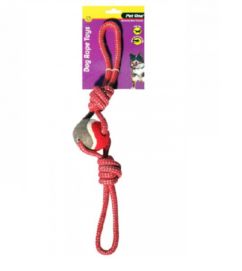 Dog Toy Rope 2 Way Tug With Tennis Ball Red/Blue 49cm image 0