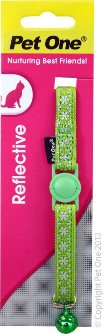 Pet One Collar for Cat & Kitten Reflective and Adjustable 10mm x 15-22.5cm Green image 0