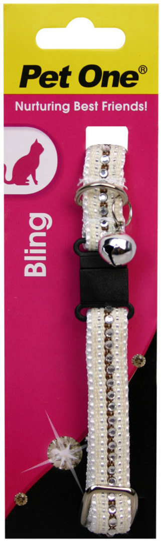 Pet One Collar for Cat & Kitten Bling with BREAKAWAY Clip 12mm x 30cm White image 0